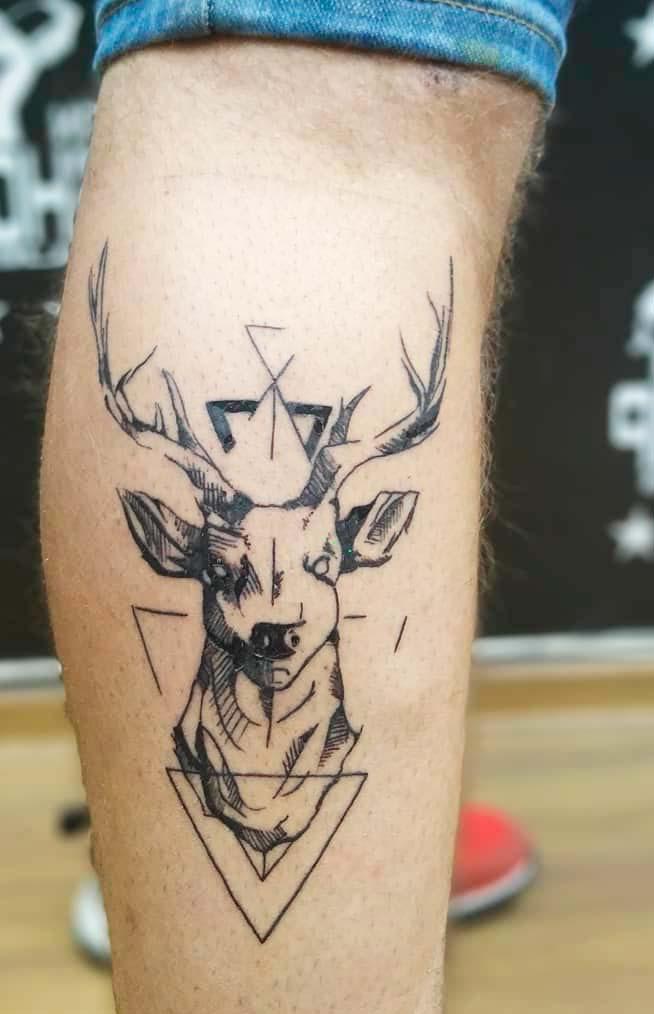 leg animal tattoos for guys