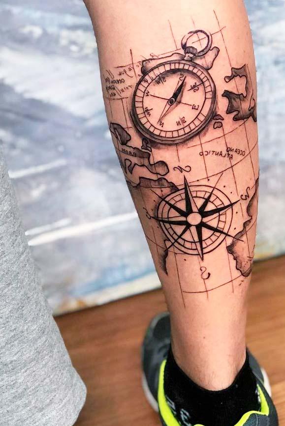 compass leg tattoo design ideas for guy
