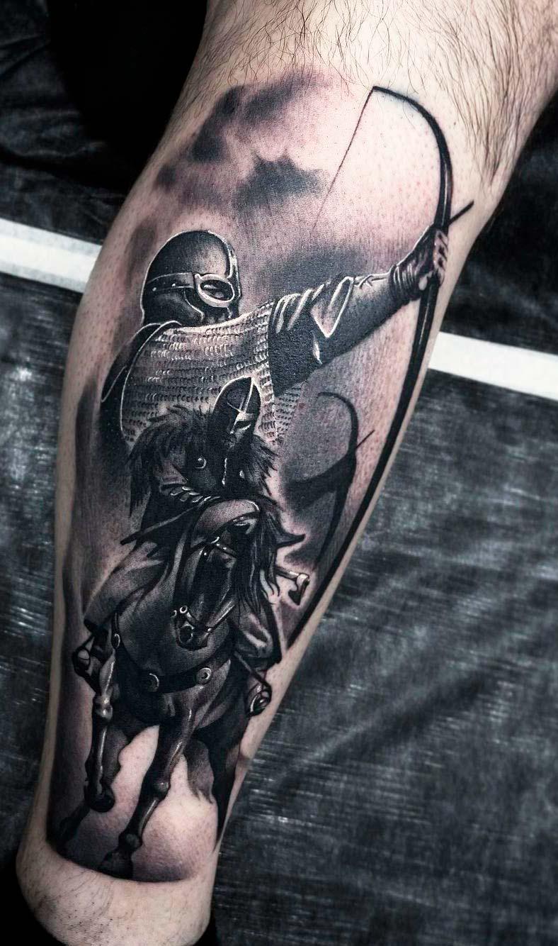 Archer leg Tattoo Ideas For Men