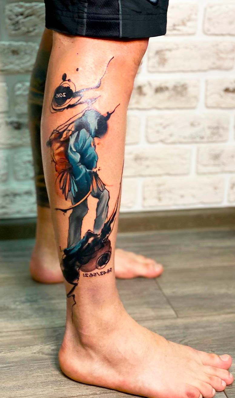 best colorful leg tattoo ideas for guys and men