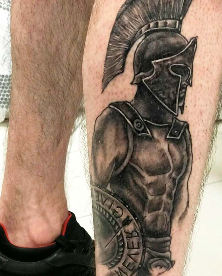 Amazing Gladiator Tattoos You Have Never Seen on leg