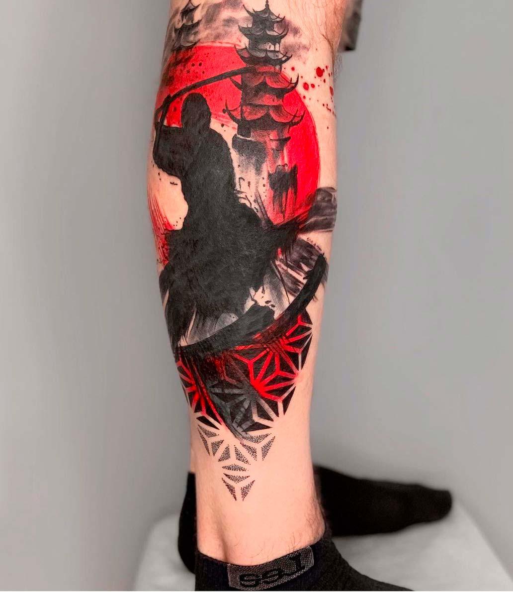 japanese leg tattoos for guys on leg side