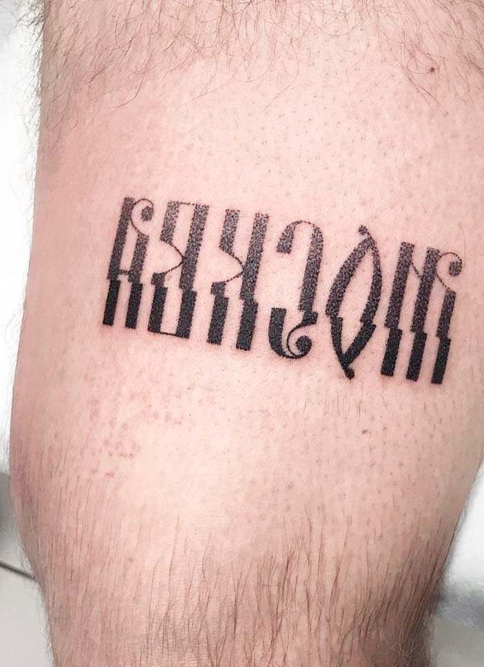 russian letter tattoo ideas on leg
