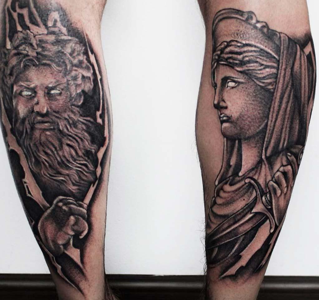 ancient greek mythology tattoo designs on men legs