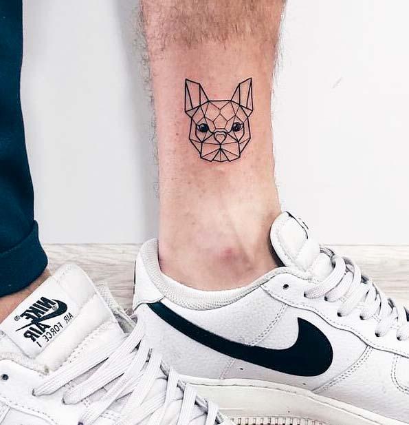 dog tattoo minimalist ideas on men leg