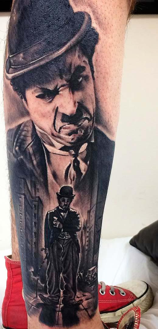 charlie chaplin inc art images on leg
